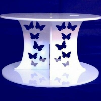 Butterflies White Round Acrylic Pillars Wedding & Party Cake Separators / Stands