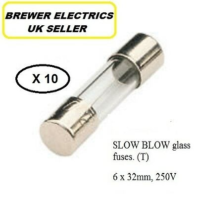 10 x 32MM SLOW BLOW GLASS FUSES ALL AMPAGES T100A - T15A