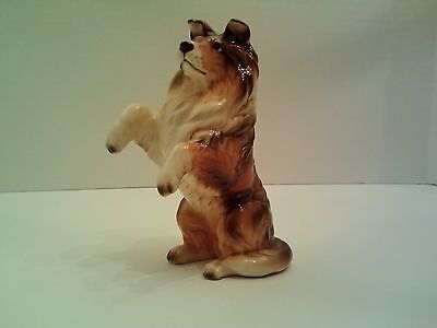 Porcelain figurine - soulful eyed Sable Collie sitting pretty; stamped A721