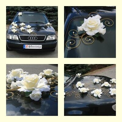 Rs wedding car decoration royal  single  decoration white silver ecru ivory gold