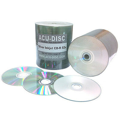 100 Blank ACU-DISC Silver Inkjet Printable CD-R80 Full Face (52x) 700MB Spindle