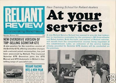 Reliant Review June 1973 UK Market Brochure Regal Scimitar GTE