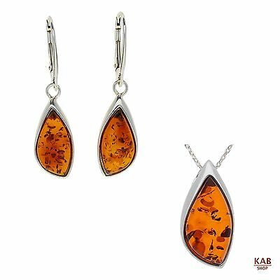 Cognac Baltic Amber Sterling Silver 925 Pendant & Earrings Dangle, Kab-130