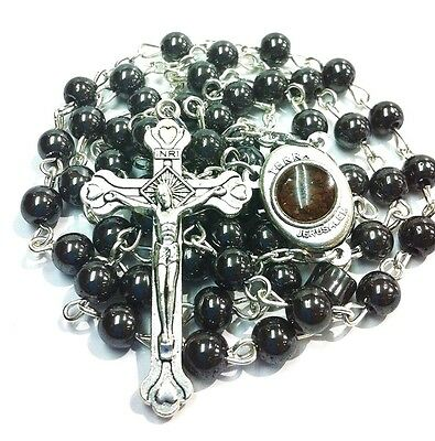 Real authentic blessed hemetite stone Rosary beads with soil from Jerusalem