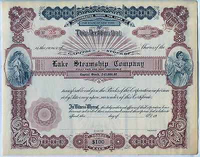 Lake Steamship Company Stock Certificate New York
