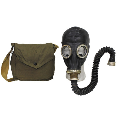 Russian soviet army surplus black gas mask, tubing, filter and bag