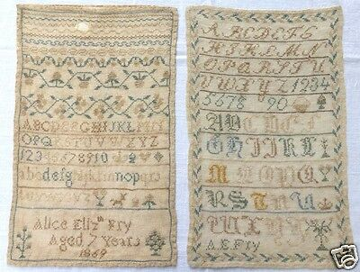 Alphabet Samplers 2 by Alice Elizabeth Fry Age 7 years 1869 Antique English