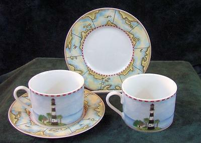 Pair Of - American Atelier - Signals - Flat - Cups And Saucers