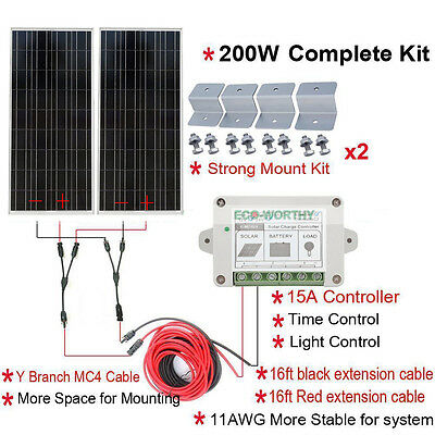200Watt Solar KIT: 2×100W PV Solar Panel High Efficiency for 12V System RV Boat