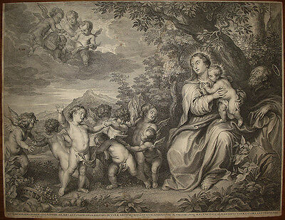 stampa antica old print after A. Van Dyck Sacra Famiglia Holy family 1645 Egypt
