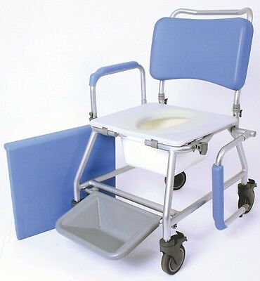 """Atlantic Wave Commode & Shower Chair 18"""" Seat New On Wheels Free Delivery"""