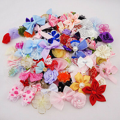 50pcs Ribbon Bows Flowers Appliques Craft Lots Mix E87