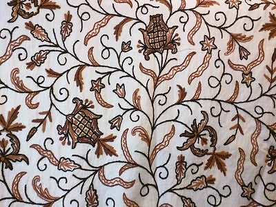 Kashmir Crewel Hand Embroidered Wool On Cotton Upholstery Fabric 52