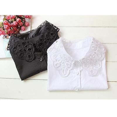 Women Vintage Organza Embroidery False Fake Collar Detachable Half Shirt Blouse