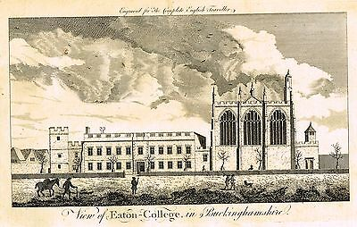 "Traveller's ""VIEW OF EATON COLLEGE, IN BUCKINGHAMSHIRE""- Copper Engraving -1771"