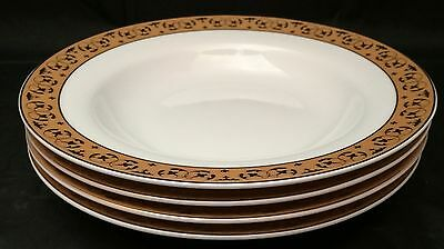 4 Sears Simply Christmas Rimmed Soup Pasta Bowls Gold Trim Rim