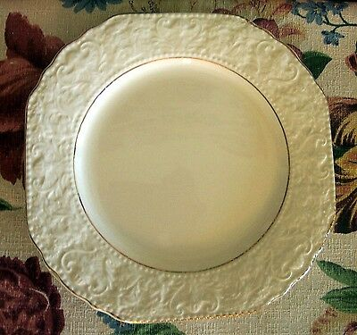 Vintage Burleigh Staffordshire Salad Plate With Embossed Rim and Gold Accents