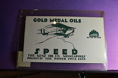 KUNZ OIL CO. BLOTTER NM w AIRPLANE/GOLD MEDAL OILS, SPEED MINNEAPOLIS. NM,GREAT!