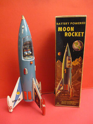 SCARCE YONEZAWA MOON ROCKET XM12 + ORIGINAL BOX SPACE TOY ROBOT