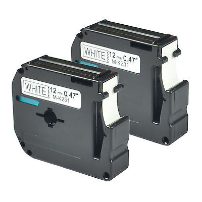 2 PK Black on White Compatible for Brother P-touch Labels M231 MK231 PT-100 110