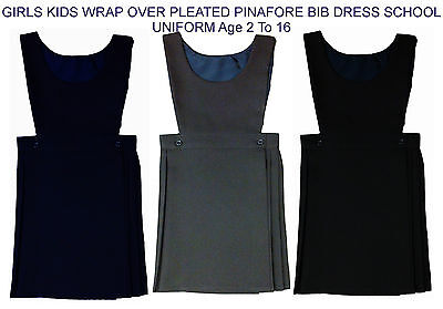 GIRLS KIDS WRAP OVER PLEATED PINAFORE BIB DRESS SCHOOL UNIFORM SIZE 2 TO 16 Year