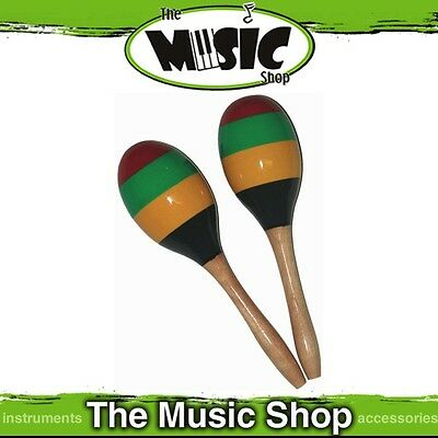 New Pair Mano Percussion Wooden Oval Maracas with Colourful Stripes - ED765