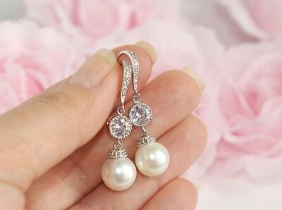 Arlette Swarovski Pearl Diamante Bridal Formal Silver Earrings Vintage Wedding