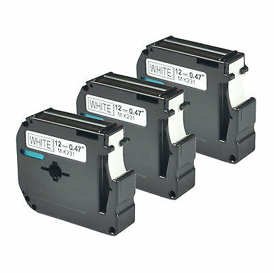 3 PK Black on White Compatible for Brother P-touch Label M231 MK231 PT-55BM 55S