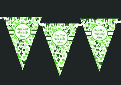 Beautiful Green Butterfly Personalised Shabby Chic Garden Tea Party Bunting