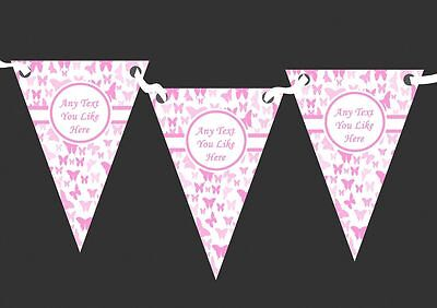 Beautiful Pink Butterfly Personalised Shabby Chic Garden Tea Party Bunting