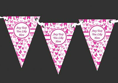 Beautiful Hot Pink Butterfly Personalised Shabby Chic Garden Tea Party Bunting