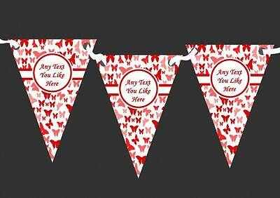 Beautiful Red Butterfly Personalised Shabby Chic Garden Tea Party Bunting