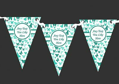 Beautiful Turquoise Butterfly Personalised Shabby Chic Garden Tea Party Bunting