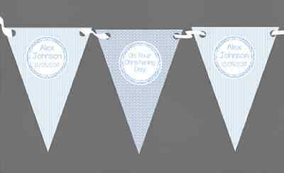 Boy Blue Stripes & Clouds Personalised Christening Baptism Bunting