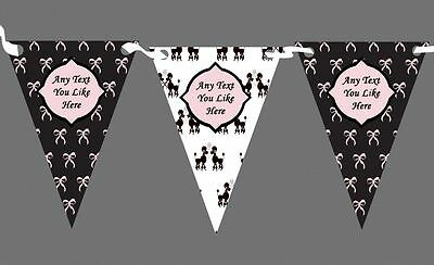 French Paris Bows Poodle Black Pink Personalised Birthday Party Bunting