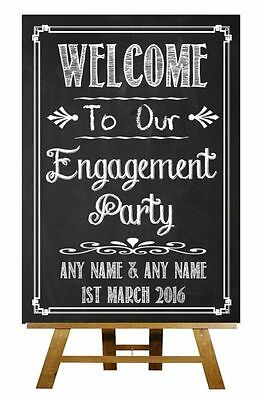 Chalkboard Welcome To Our Engagement Party Vintage Personalised Wedding Sign