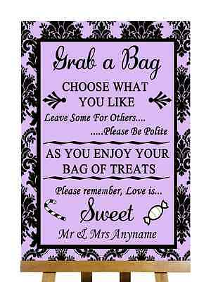 Chalkboard Candy Buffet Sweet Cart Poem Personalised Wedding Sign Poster
