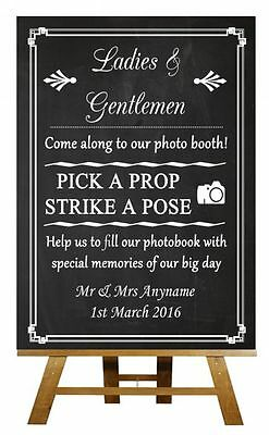 Chalkboard Photo Booth Personalised Wedding Sign / Poster