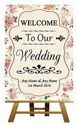Roses Shabby Chic Welcome To Our Wedding Personalised Wedding Sign