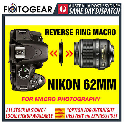 Reverse Adapter Ring for Macro Photography Nikon Lens Filter 62mm