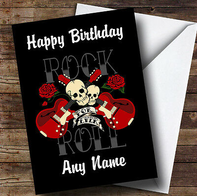 Rock N Roll Music Personalised Birthday Greetings Card