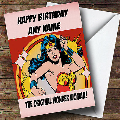 Original Wonder Woman Personalised Birthday Greetings Card
