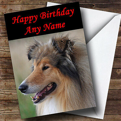 Rough Collie Dog Personalised Birthday Greetings Card
