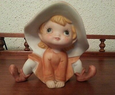VTG  Porcelain Figurine Whimsical Wood Elf Homco Home Interiors  Orange