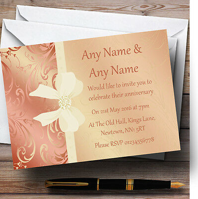 Cream Pale Coral Peach Pink Bow Wedding Anniversary Personalised Invitations