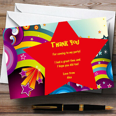 Red Star Rainbow Personalised Party Thank You Cards