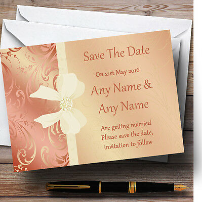 Cream Pale Coral Peach Pink Bow Wedding Save The Date Cards