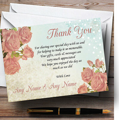 Shabby Chic Vintage Floral Classic Light Personalised Wedding Thank You Cards