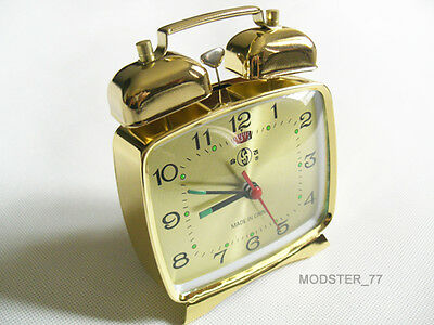 #824 Gold Classic 70s Vintage Retro Style Mechanical Wind up Metal Alarm Clock