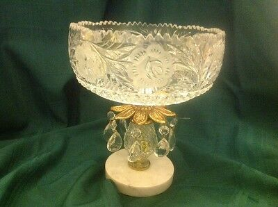 Compote Dish in Lead Crystal with Prisms and Marble Base